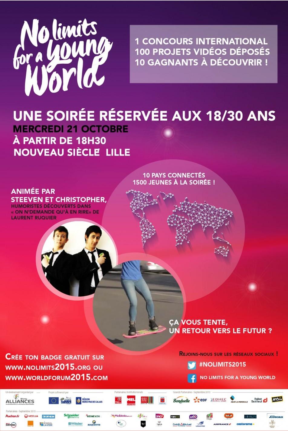 Image à la une de Soirée No limits for a Young World : Mercredi 21 octobre